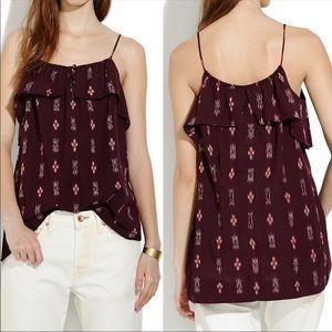 MADEWELL Ikat Ruffle Burgundy Tank Top Shirt Boho